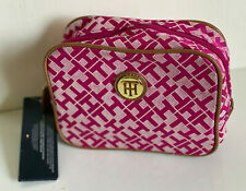 NEW TOMMY HILFIGER PINK SIGNATURE TRAVEL MAKEUP COSMETIC ORGANIZER CASE $32 SALE
