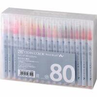 New Kuretake ZIG Real Brush Pen Clean Color 80 Set 80V RB-6000AT / 80V F/S