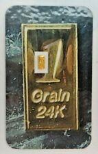 1Grain 999.9 Fine Gold Bullion Bar 24K Pure 4Grain .999 Fine Silver V259