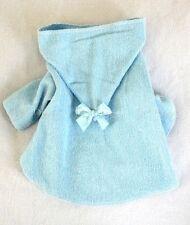 M New Blue Terry Cloth Hooded Dog Bathrobe clothes pet apparel Medium PC Dog®