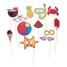 12 Summer Fun Photo booth Stick Props GAME tropical beach pool birthday party