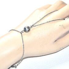 Chaîne de main bracelet bague acier inoxydable cristal AB bijou
