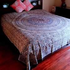 Kalamkari Block Print Tapestry Floral Paisley Cotton Bedspread Full Blue Red