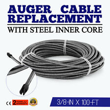 100 Ft Drain Auger Cable Replacement Cleaner Snake Clog Pipe Sewer Wire 3/8""
