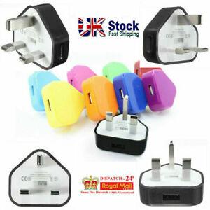 3 Pin Main Wall USB Plug Adaptor Charger Power Port Mobile Phone Tablets UK New