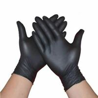 Disposable Latex Gloves 50/100 Pack Medical Food Mechanic Black Work Powder Free