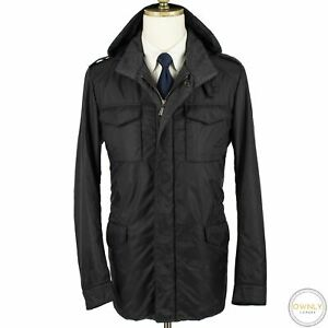 Brioni Blue Nylon Houndstooth Glossy Inlay Hooded Water Repellent Parka Jacket M