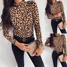 Women Leopard Summer Long Sleeve Turtleneck Tops Casual Shirt Blouse T-shirt Tee