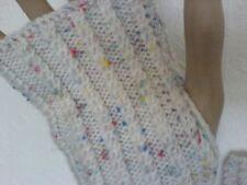 cream wrist warmers with multi coloured specks handd knit new