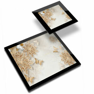Glass Placemat  & Coaster - Golden Flowers Butterfly Pattern  #21621