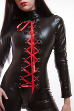 Lycra Catsuit/Overalls IN Lacquer/Latex Look With Lacing/Lycra Catsuit Lace-Up