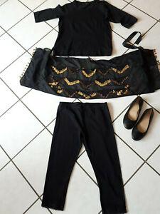 4-teilig Bauchtanzset Bekleidung 42/44 Hose T-Shirt Schuhe Gr 41 Tuch Pailletten