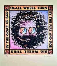 "Great Signed Gary Houston Poster ""The Wheel"" Lyrics Jerry Garcia Grateful Dead"