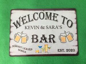 Personalised Bar Sign Plaque Indoor or Outdoor Drinks Bar Man Cave Beer Garden