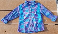 Tie Dye Ladies Button Down Shirt M Purple Sky Clim Sonoma Free S/H Multi-Color