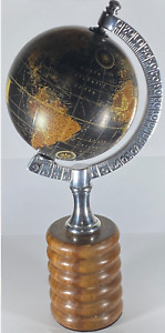 NEW BEAUTIFUL DESK ATLAS GLOBE WITH REAL WOOD BASE STAND & METAL GLOBE REST