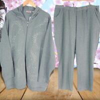 Quacker Factory Women's Zip Up Hoodie Sweatpants Set Gray Heathered Plus 3X New