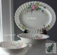 3 Royal Doulton Arcadia Floral Serving Platter & 2 Dish Fine Bone China England