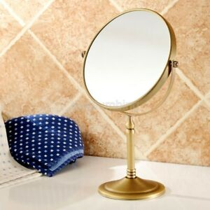 Antique Brass Desk Type Double Sided Cosmetic Mirror Makeup Lady's Mirror