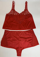 Vtg Cabernet Womens Lingerie Camisole Panty Set Red Nylon Lace USA Plus Size 42
