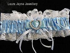 Blue satin blanc avec dentelle jarretière de mariage avec mousseux motif coeur