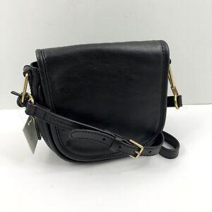 Fossil RUMI Small Crossbody Leather Black Saddle Bag NWT $158 Free Shipping