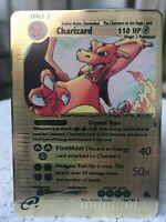 Carte POKEMON Crystal Charizard Golden metal 18g fan card PSA 10 Dracaufeu