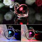 Popular Fairy Crystal Rose LED Light Keychain Love Heart Key Chain Ring Keyring