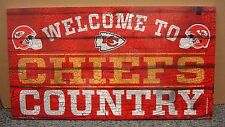 """KANSAS CITY CHIEFS WELCOME TO CHIEFS COUNTRY WOOD SIGN 13""""X24'' NEW WINCRAFT"""