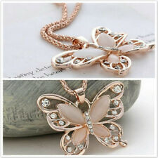Lady Necklace Choker Pendant Rose Gold Opal Butterfly Pendant Exquisite Necklace