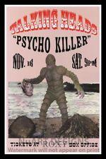 "Framed Vintage Style Rock 'n' Roll Poster ""TALKING HEADS - PSYCHO KILLER""; 12x18"