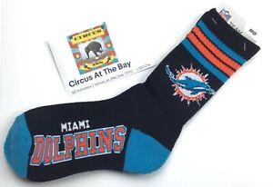 Miami Dolphins NFL / Team Logo Black Socks /  Mens Size 5-10 / Womens Size 6-11