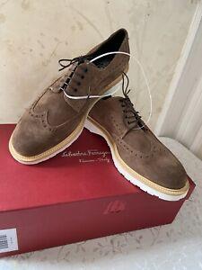 NIB $700 Authentic Salvatore Ferragamo Mens Concorde Sepia Suede Shoes 8.5 EE