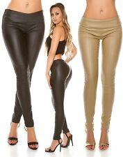 Sexy Koucla Lederlook Hose Damen Hose mit Ziernähten
