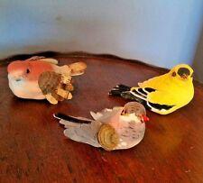 "3 colorful Birds  Christmas Ornaments 3"" Long"
