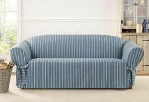 Sofa Sure fit slip cover slipcover Grain sack stripe Navy seaside stripe