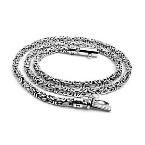 Bali Handmade Solid Sterling Silver round BYZANTINE Chain Necklace 4mm