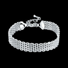 "925Sterling Silver Wide Circle To Circle Women Cable Chain Bracelet 7.2"" YH563"