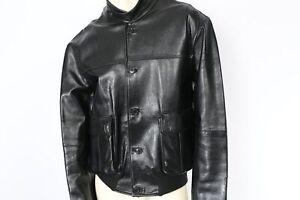FERRE Black Leather Pocket Jacket Size XL