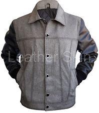 Men Black Denim Jacket with Black Leather Sleeves