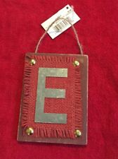 "Ganz Rustic Christmas Initial Ornament ""E"" Metal & Wood New Initial Monogram"