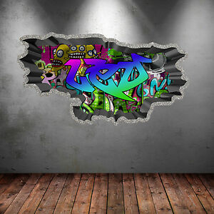 FULL COLOUR PERSONALISED 3D GRAFFITI NAME CRACKED WALL ART STICKERS DECAL WSD119
