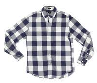 J. CREW Blue White Plaid Oversized Gingham Slim Button Down Mens Shirt sz M /129
