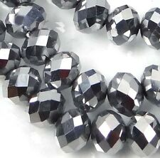 8x6mm Faceted Metallic Silver Glass Quartz Rondelle Beads 16""