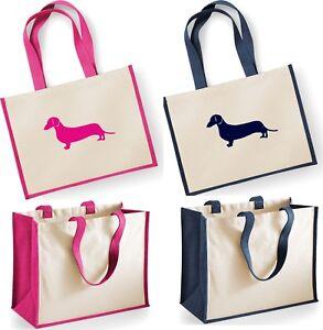 DACHSHUND ~ Dog Westford Mill Large Jute Shopper Bag Natural Tote Handbag