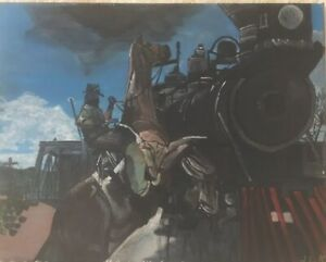 Billy The Kid Train Robbery - Original Hand Painted Acrylic Painting On Canvas