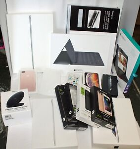 16 iphone, ipad & mophie boxes, 2 sets of ear buds, 1 mophie charger