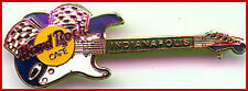 Hard Rock Cafe INDIANAPOLIS 1999 RACING FLAGS GUITAR PIN Blue White Fender Strat