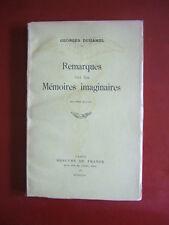 REMARQUES SUR LES MÉMOIRES IMAGINAIRES : GEORGES DUHAMEL - 1934