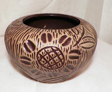"NEW 5"" ORIENTAL CHINESE BROWN FLOWER DECORATIVE PLANTER PLANT POT BAMBOO HOLDER"